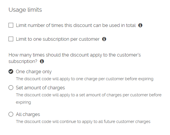 Creating discount codes – ReCharge